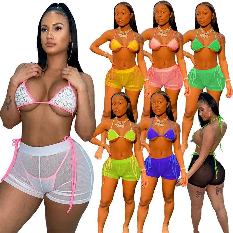 Оптовые летние женские бикинисы женские купальники 3 шт. Набор мода тощий сексуальный купальник купальный костюм пляжная одежда комфортабельно 1249