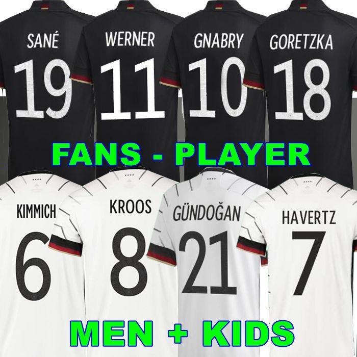 팬 플레이어 버전 2020 2021 독일 축구 유니폼 Gnabry Werner Kroos 20 21 KRICHICK MULOT DE FOOT FOMPANS SANE Goretzka Can Havertz Muller Men + Kids