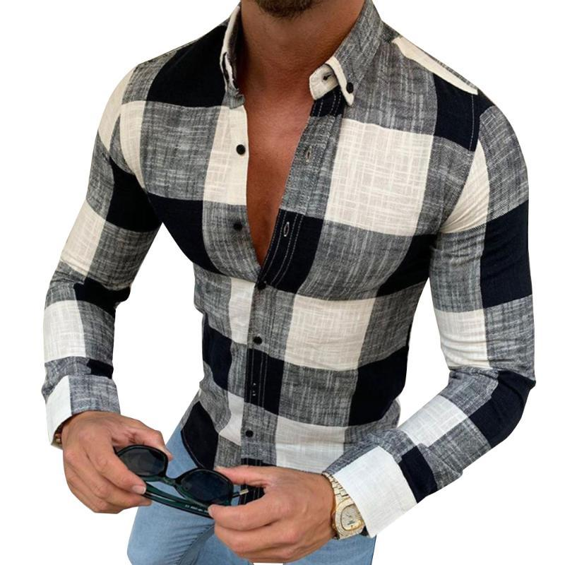 # 36 망 셔츠 2021 스타일 패션 남자 의류 긴 소매 칼라 캐주얼 비즈니스 기본 착용 격자 무늬 셔츠 남자
