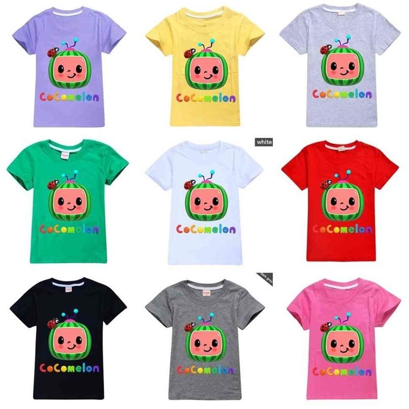 CoComelon Baby Boys T-shirt Cartoon Cute Letters Printed Summer Kids Short Sleeve Candy Colors Children Top Tees Casual Clothing G49WGRN