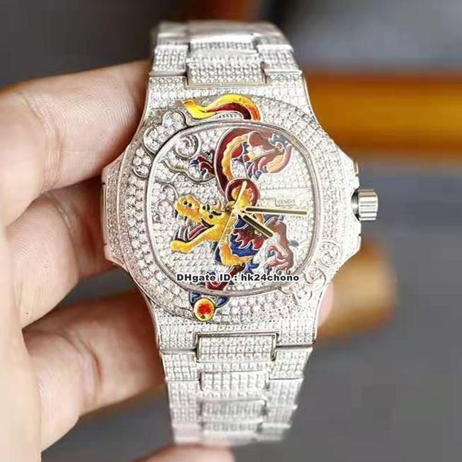 Relojes de alta calidad YR 5720/1 Nautilus Full Pavé Diamond Edition Limited Cal.324 Autoamtic Mens Watch Esmalte Dragon Dial Diamonds Pulsera Sports Gents Relojes de pulsera