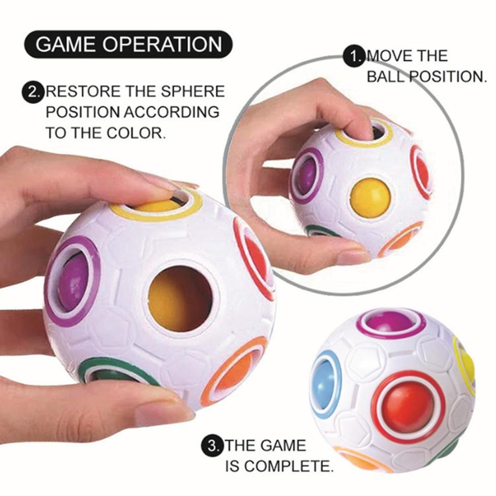 Arco-íris Mágico Bola Plástico Cubo Puzzle Brinquedo Crianças Adulto Anti Stress Pressure PRESSÃO CONCEDENTE CONCLLER Educacional Toy XC299
