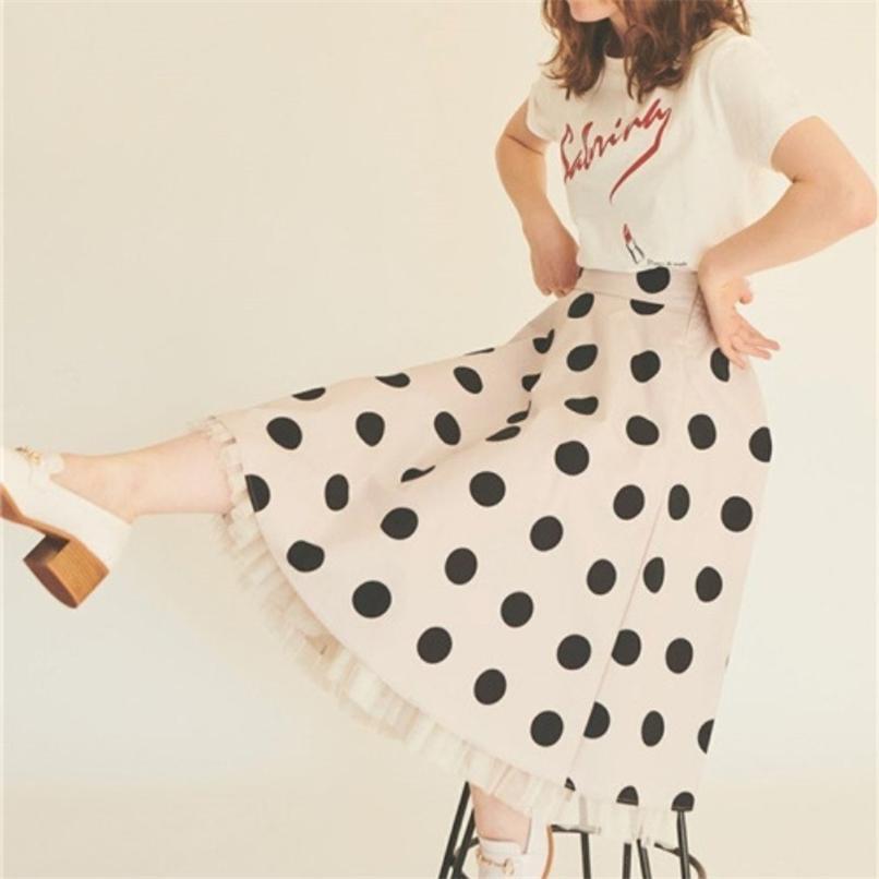 Япония стиль винтаж в горошек дюн-дюйд юбки простые сладкие шикарные высокие талии Ruffles Femme Faldas Office Lady Elegant Moda юбка 210528