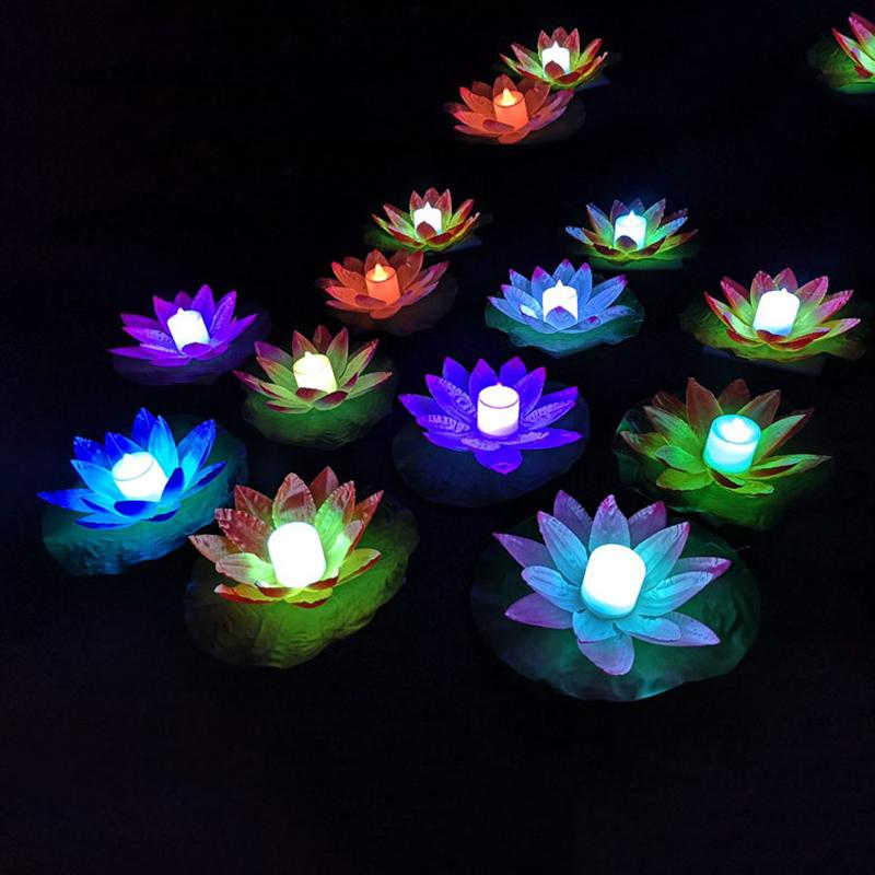 Artificial Flower LED Lotus Lamp Colorful Changed Floating Water Wishing Light For Party Birthday Christmas Garden Supplies