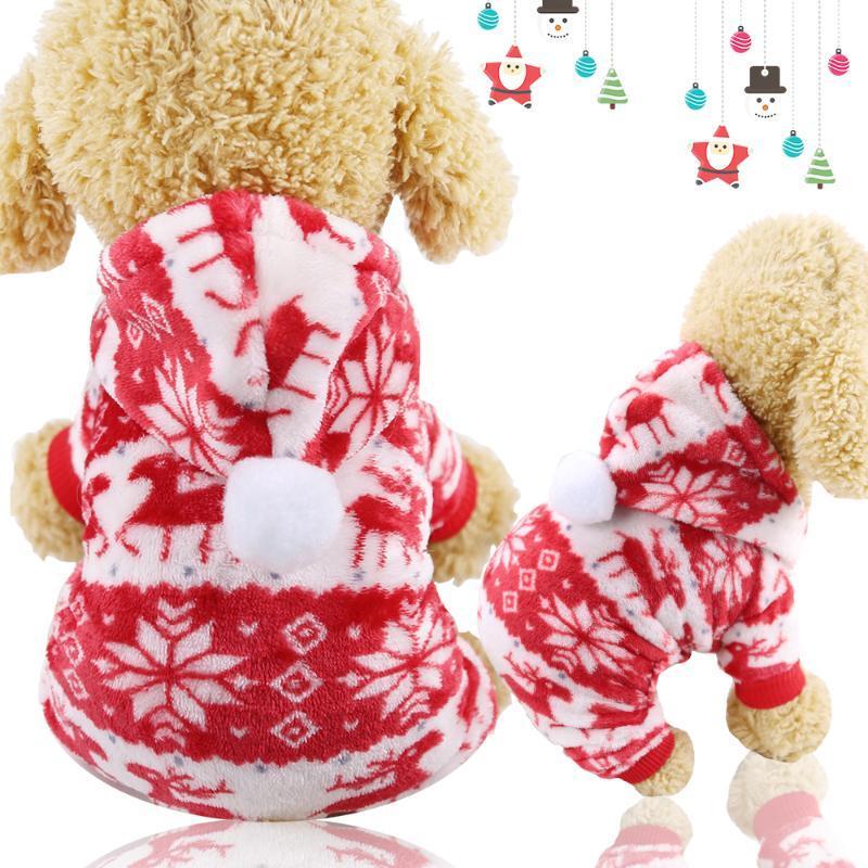Ropa de perro ropa de cuatro patas más terciopelo franela navidad rojo alces festival gato mascota otoño e invierno caliente