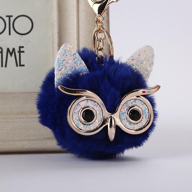 Owl Pompom Keychains Trendy Animal Shape Lovely Artificial Rabbit Fur Ball Car Keyring Key Holder Bag Pendant Jewelry