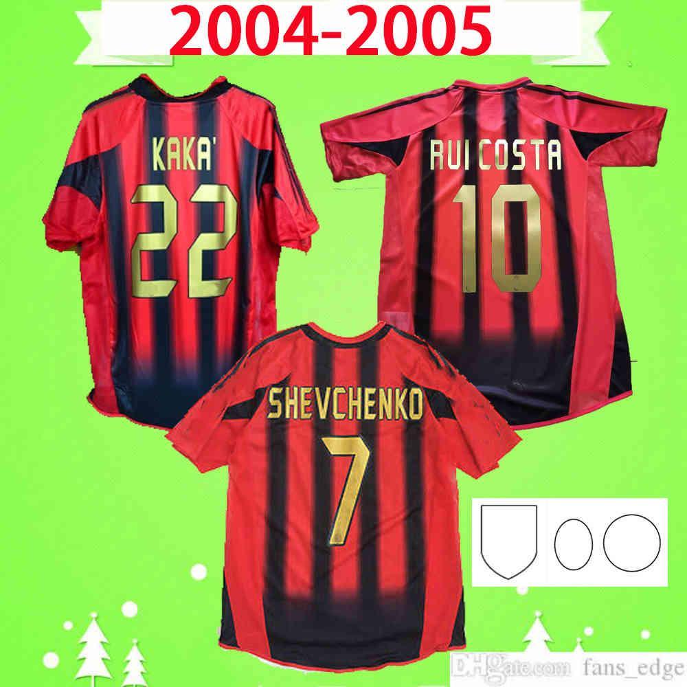 2004 2005 Retro Jersey 04 05 Home Vermelho Vermelho Milão Clássico Camisa de Futebol Vintage Top Uniform Nada AC Inzaghi Shevchenko Pirlo Kaka Maldini
