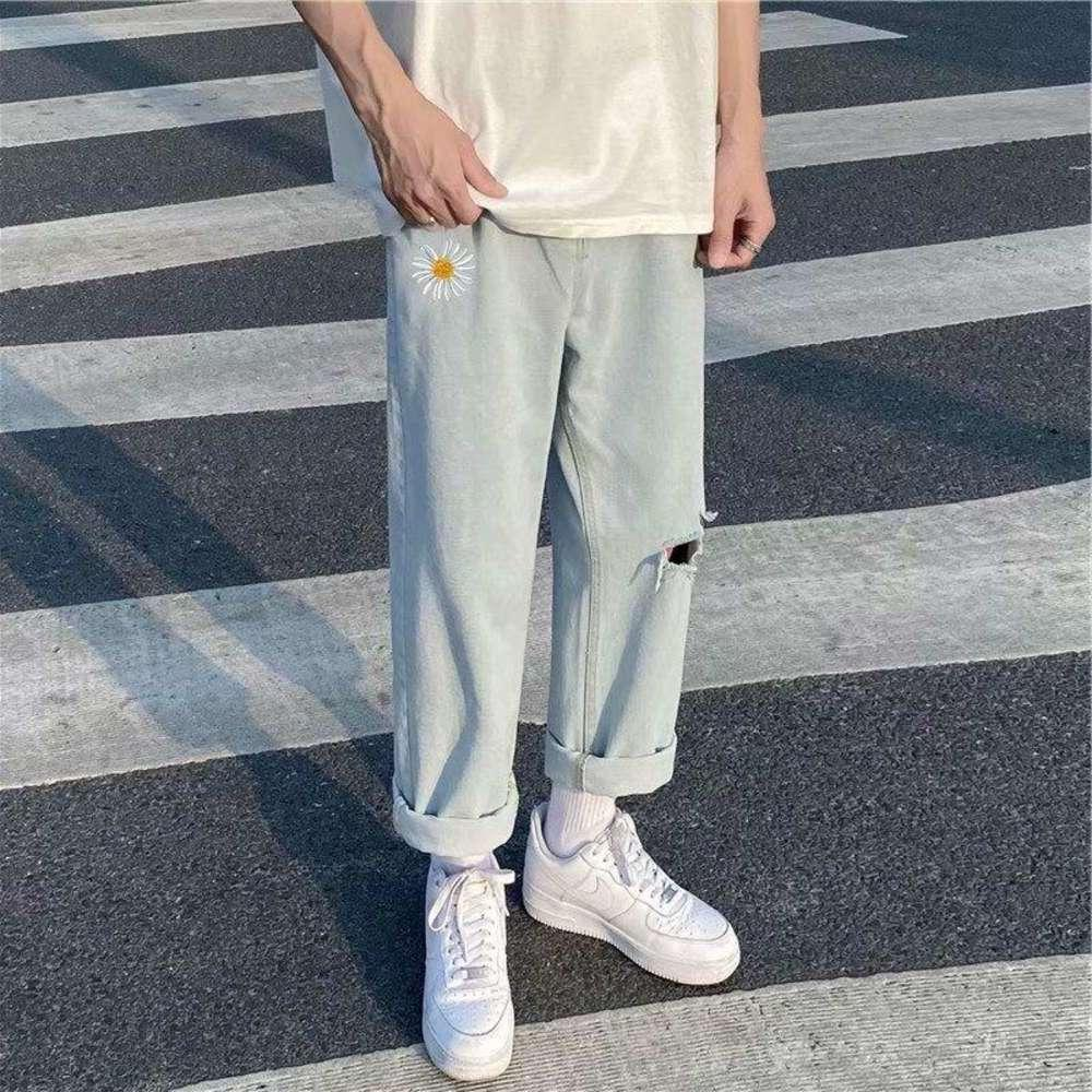 Blanchiment Blue Jeans pantalons homme japonais Harajuku Streetwear Plus Taille Denim Baggy Pantalons Broderie Broderie Hommes