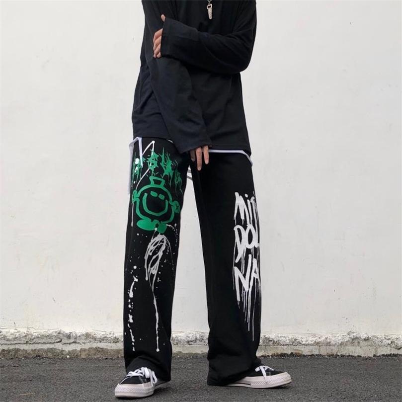 QWEEK Hippie Oversize Wide Leg Pants Women Korean Street Style Harajuku Goth Joggers Sweatpants Black Trousers Female Hip Hop 210922