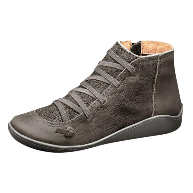 Stiefel Hohe Qualität Schuhe Damen Knöchel Echtes Leder 2021 Herbst Und Winter Pelz Schnee Frauen Schnürung