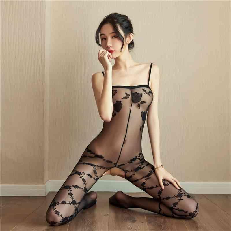 Körperstrumpf Erotische Seide Bodystocking Bodysuits Sexkostüme für Frauen Offene Schritt Unterwäsche Strümpfe sehen