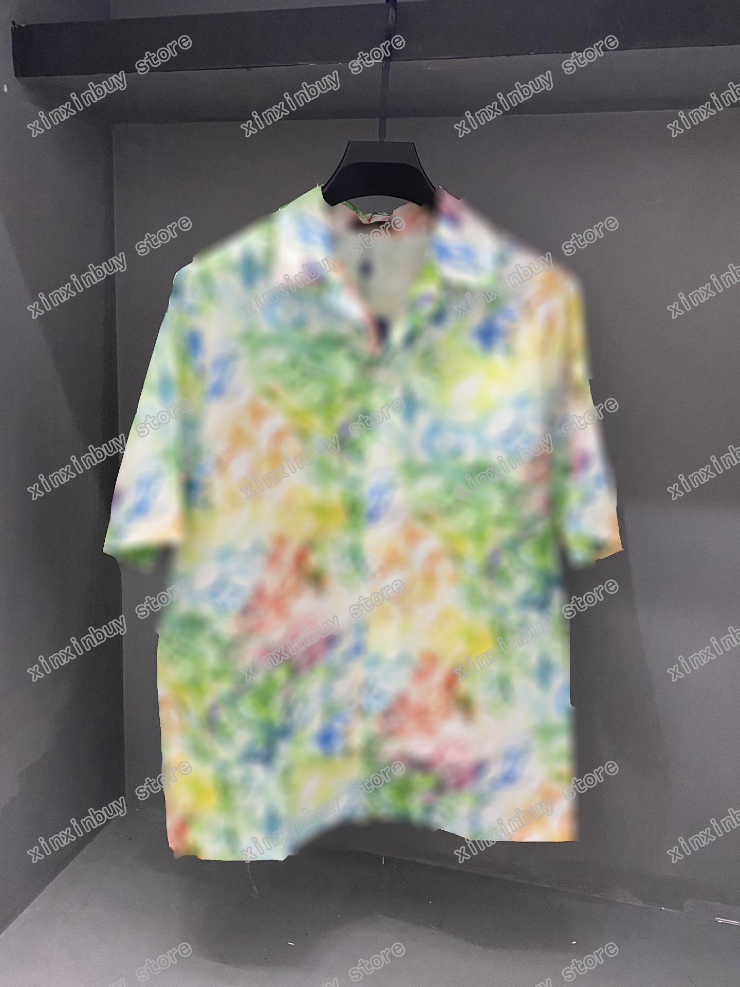 21SS Men Stampato T Shirt Polos Designer Lettere Pastello Graffiti Parigi Abbigliamento Manica corta Manica Mens Camicia da uomo Bianco nero rosso