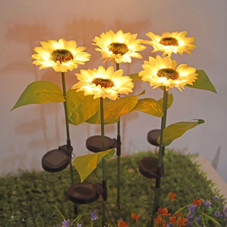 태양 빛 LED 해바라기 잔디 조명 야외 방수 정원 안뜰 공원 경로 복도 잔디 장식 조명 램프