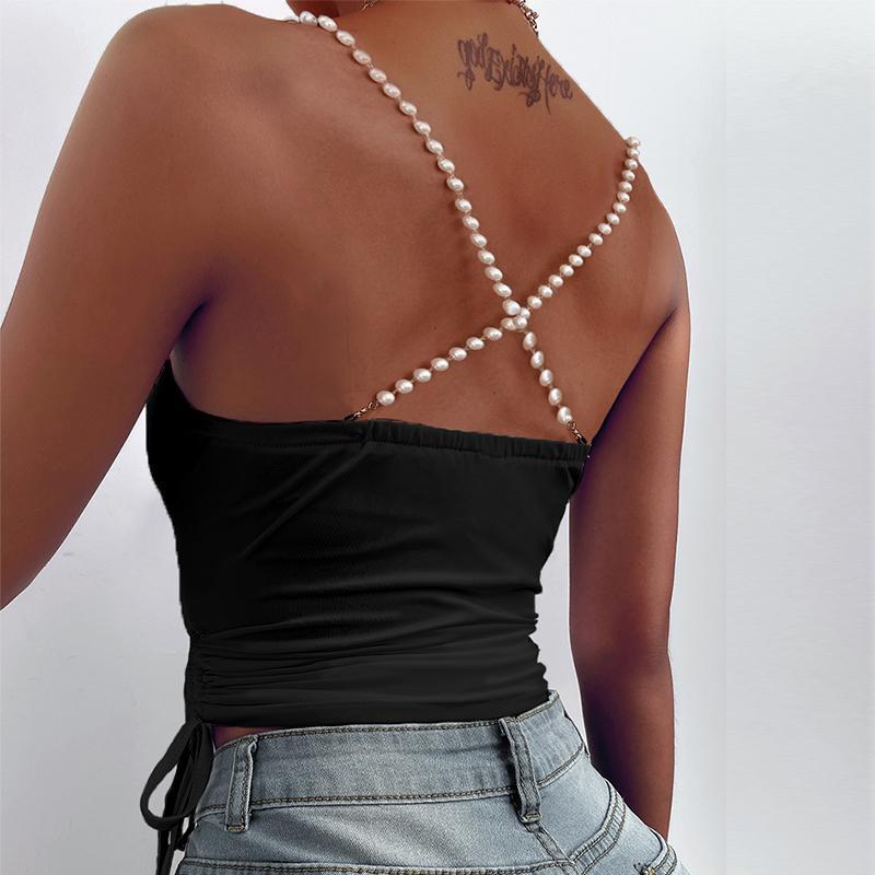 Женские блузки Рубашки Летние Сексуальные Без рукавов Бездом Бедные Сатин Женщины Элегантные Твердые Срезы Пуловер Топы Пуловер Пустота Пустоты Пустоты на шнуровке Drawstring Party