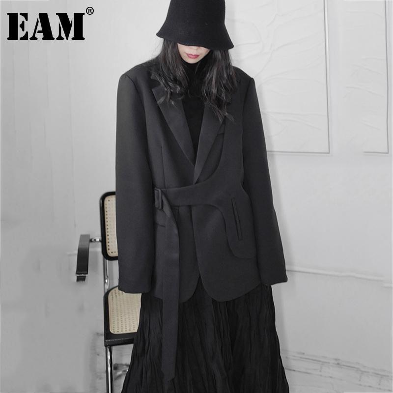 [EAM] Frauen Schwarz Große Größe Schärpen Unregelmäßiger Blazer Revers Langarm Lose Fit Jacke Mode Frühling Herbst 2021 1DD7352 Frauenanzüge BLA