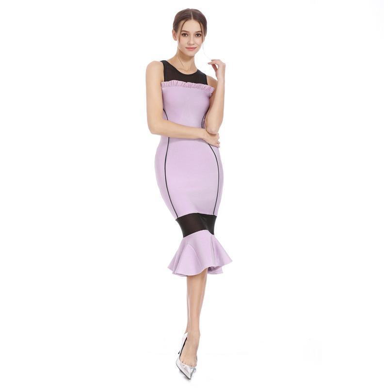 Gazlı bez elbise fransız fishtail elbise ünlü akşam yemeği partisi bandaj etek