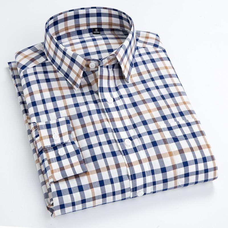 체크 무늬 셔츠 남성용 순수 면화 긴 소매 버튼 칼라 비즈니스 남성 캐주얼 격자 무늬 셔츠 14 색상 오버 셔츠 남성 탑스