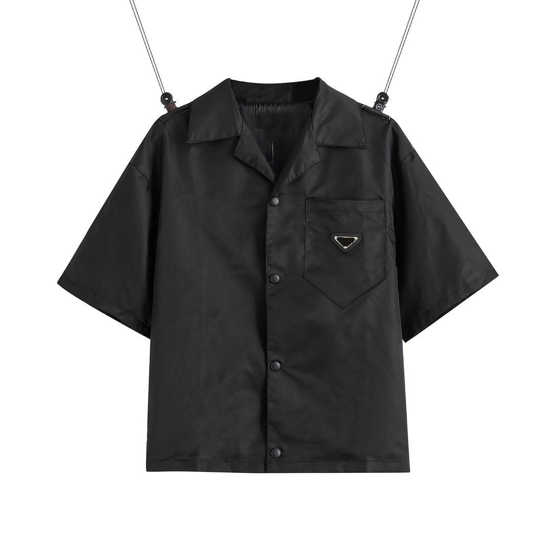 2021 Соединенные Штаты Европейская Женская Мужская Рубашка Повседневная Бренд Короткие Блузки Классический Перевернутый треугольник Свободные Импортные Высококачественные нейлоновые Островов EUR Размер Летние Топы
