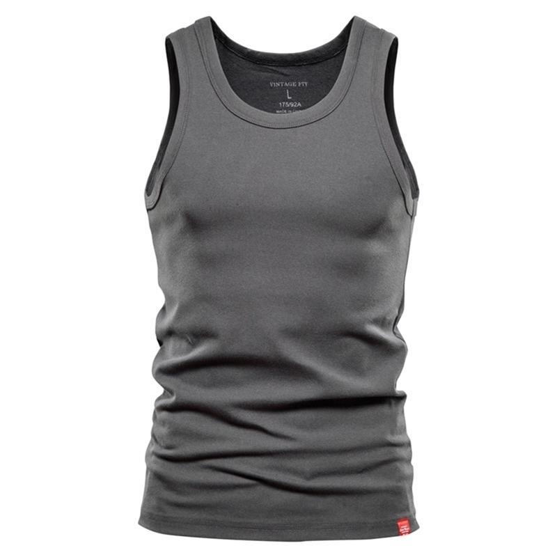 Negizber Casual Slim Fit Tanque dos homens Tops de cor sólida 100% algodão Ginásio Roupas Homens Sporting Bodybuilding Homens Roupas 210408