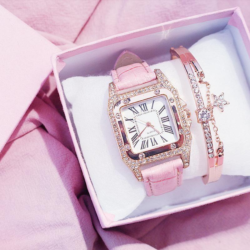 Wristwatches Women Diamond Watch Starry Luxury Bracelet Set Watches Ladies Casual Leather Band Quartz Wristwatch Female Clock Zegarek Damski