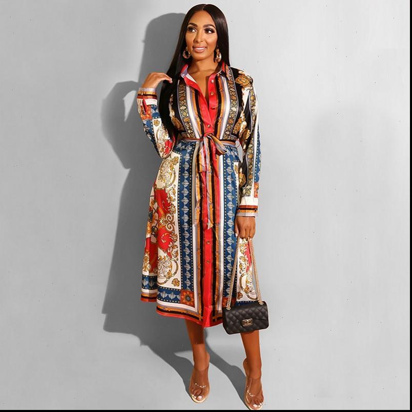 Весна отключает воротник женские платья напечатайте линию работы офис длинное платье повседневная подгонка и вспышка плиссированные осенние моды