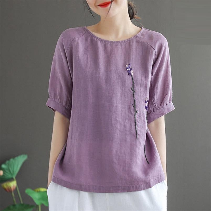 Футболки женские летние старинные цветочные вышивки повседневные топы рубашки новая мода все-матч хлопок белье женское футболка P683 210406