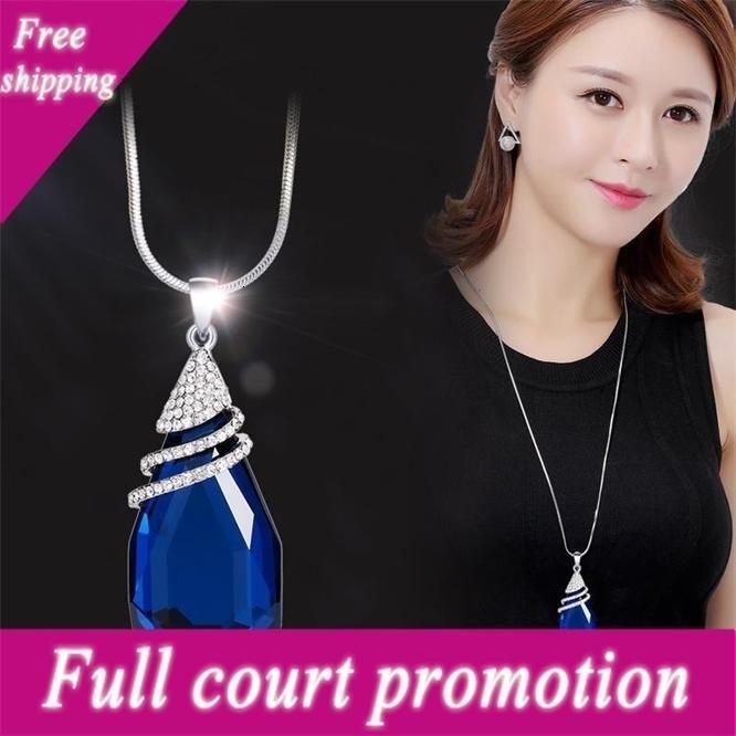 Moda coreana de alto grau de cristal incrustado diamante camisola personalidade personalidade gota grande pingente jóias geométricas