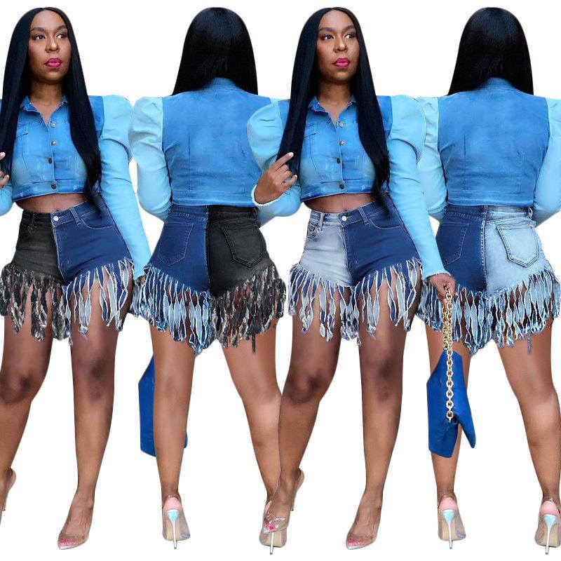 Casaul Frauen Jeans Kurze Hosen Farbe Patchwork Femme Jeans Frau Hohe Taille Denim Shorts Sommer Streetwear Für Frauen 210506