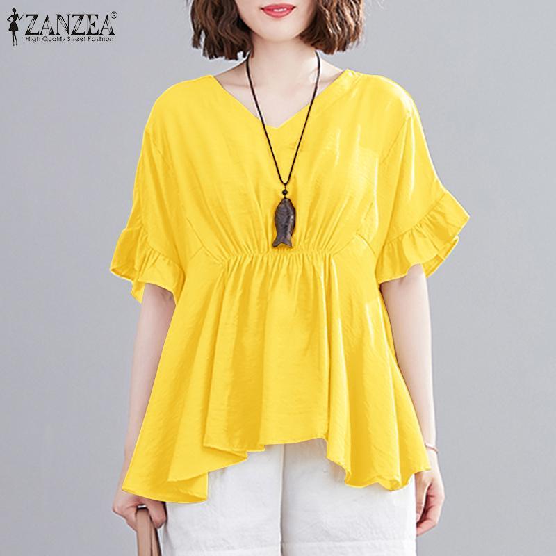 Blusas femininas camisas zanzea outono casual blusas femlae túnica amarela v pescoço cintura alta vintage assimétrico manga curta elegante tops
