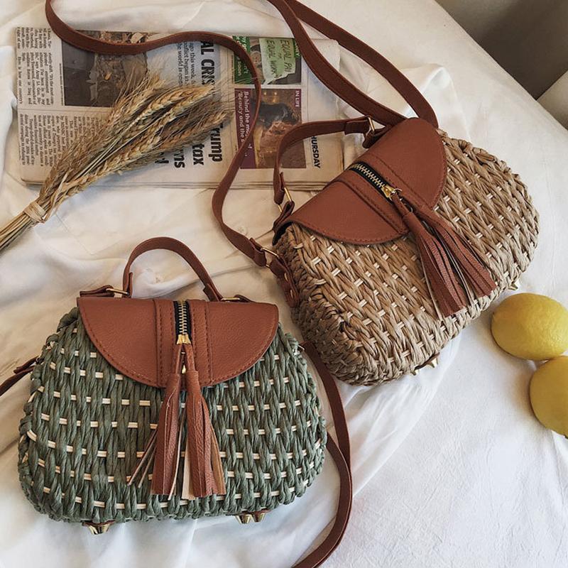 Старинные седло с кисточкой ротангом женские ореховые сумки скрещенные дизайнерские сумки Wikcer тканые сумки вскользь дамы летние пляжные соломенные кошельки
