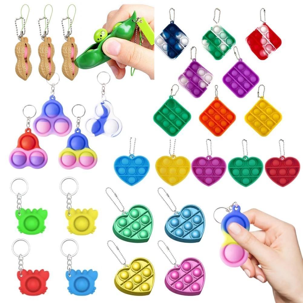 US stock Simple Dimple Party Favor Keychain Fidget Sensory Push Bubble Toy Pendants Squeeze Silicone Bubbles Stree Relief Finger DHL CJ09