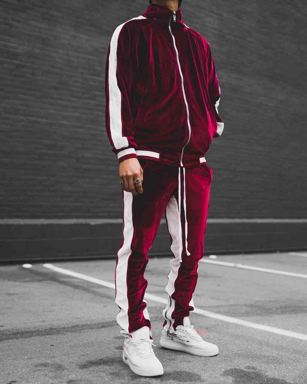 Velvet Mens Designer Tracksuits Street Sports Styles Fashion Panelled Zipper Coat Long Pants Set Male Clothing