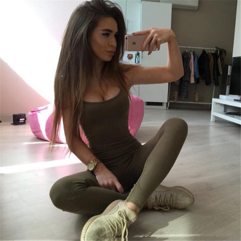Summer Casual Sport Gym Women Jumpsuit Running Skinny Fitness Sleeveless O Neck Solid