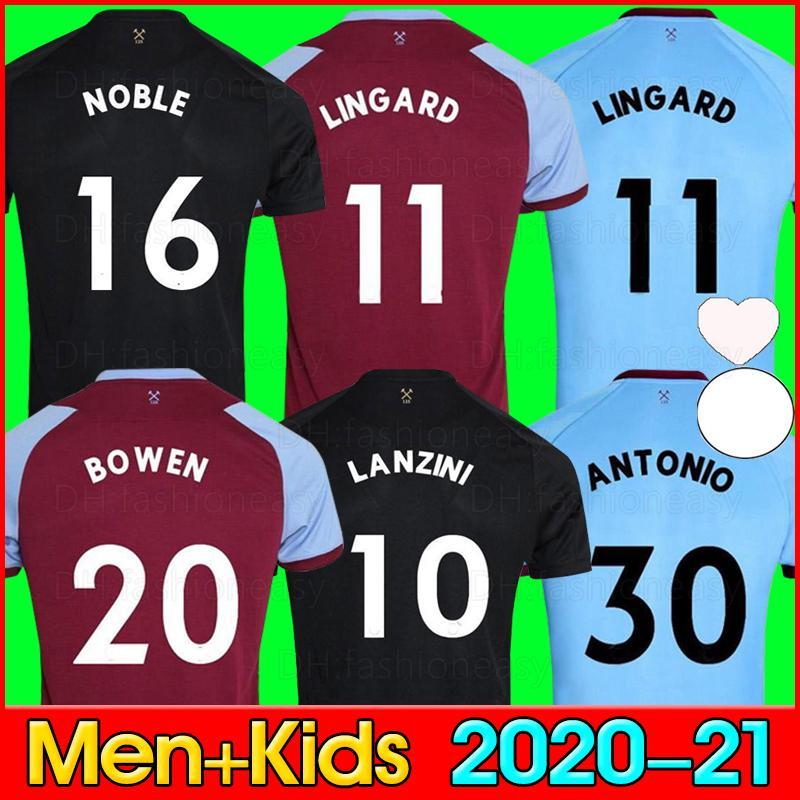 20 21 West Soccer Jersey 2020 2021 Lingard Noble Ham Anderson United Rice Noble 축구 셔츠 남성 + 키즈 키트 125 년 125 주년 기념