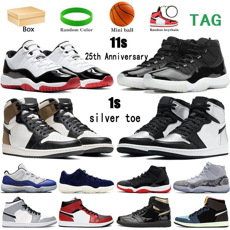 مع مربع 1 1 ثانية 11 11 ثانية الرجال المرأة كرة السلة الأحذية 25th الذكرى منخفضة أبيض bred الظلام mocha طوكيو bio أسود رجل أحذية رياضية
