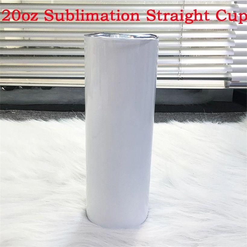 200 adet Skinny Boş Beyaz Süblimasyon 20 oz Düz Drinkware Tumblers DIY Seyahat için Ev Su Şişeleri Mutfak Accesorries Kupalar