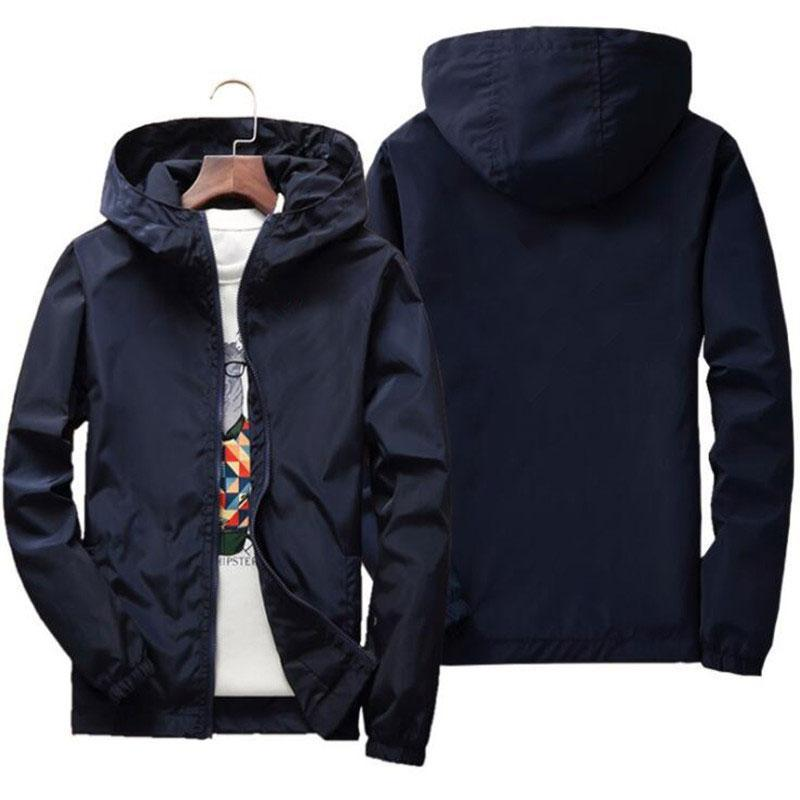 Jaquetas masculinas 2021 Primavera e verão jaqueta rua windbreaker hoodie zipper fino 7xl logotipo personalizado