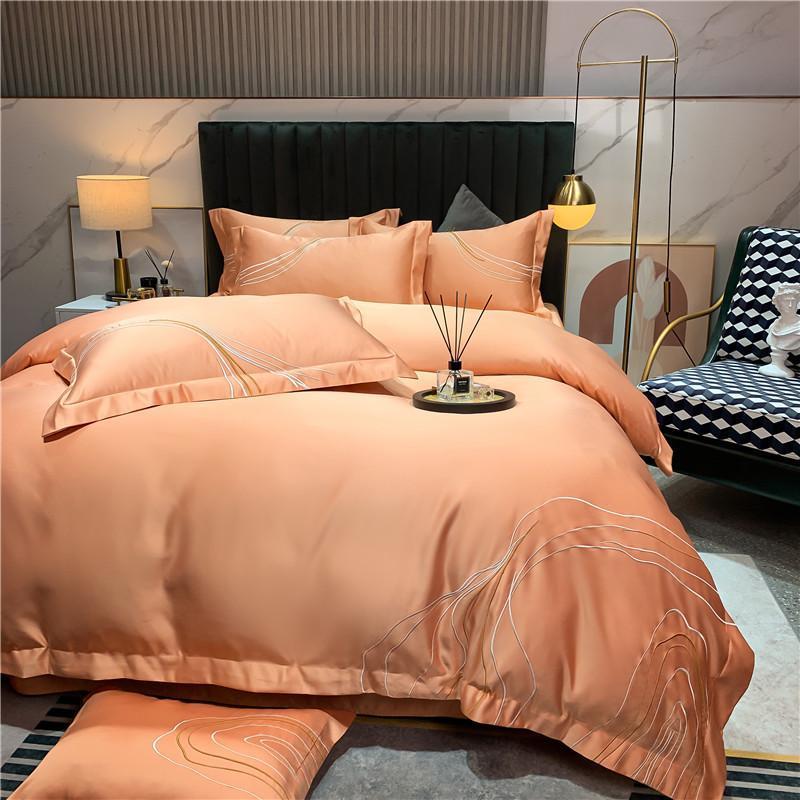 Bettwäsche-Sets Big-Namens-Sommer-Sommer doppelseitige Eis-Seide-Vier-teiliger orange Einfache seidige nackte schlafende hochwertige Bettwäsche