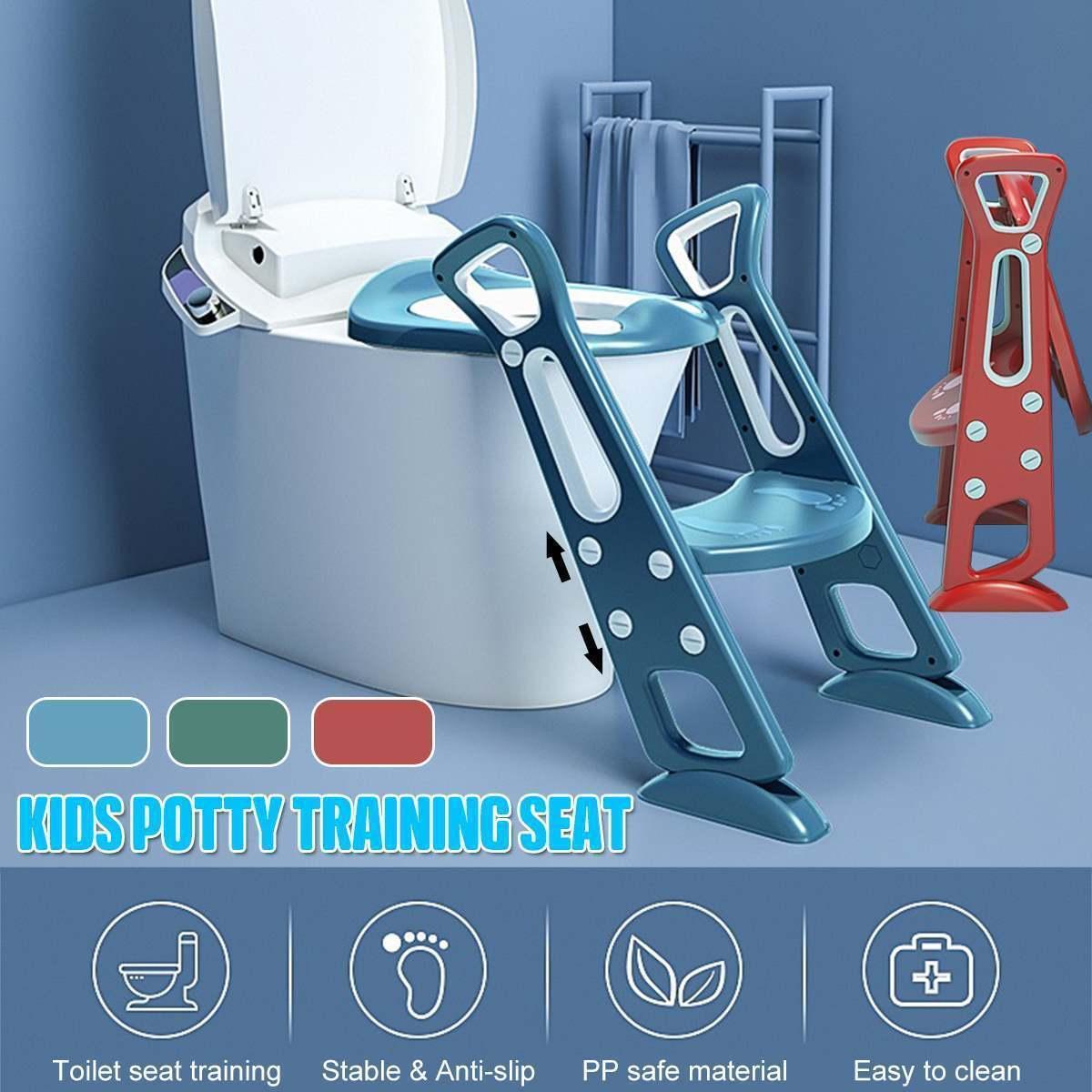 Faltender Baby-Töpfchen-Infant Kinder-WC-Trainingssitz mit sicherer einstellbarer Leiterhöhe tragbarer Urinal-Töpfchen-WC-Sitz für Kind LJ201110