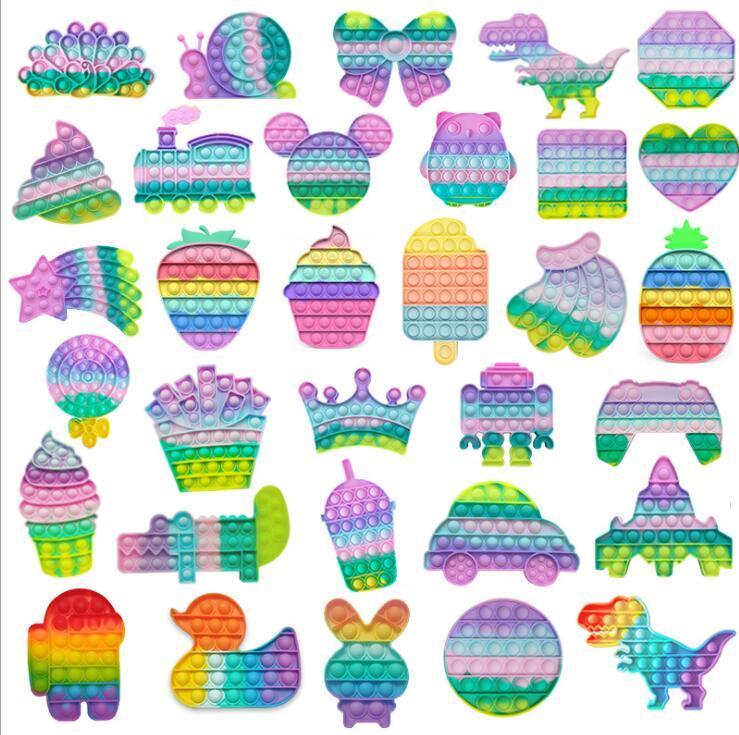 Tie-Dye empurre Bubble Festa Fidget Brinquedos Stress Reemver Sensory Descompactação Brinquedos Ansiedade Alívio Para Crianças Adulto Presentes De Aniversário DHL Shipping FY2483