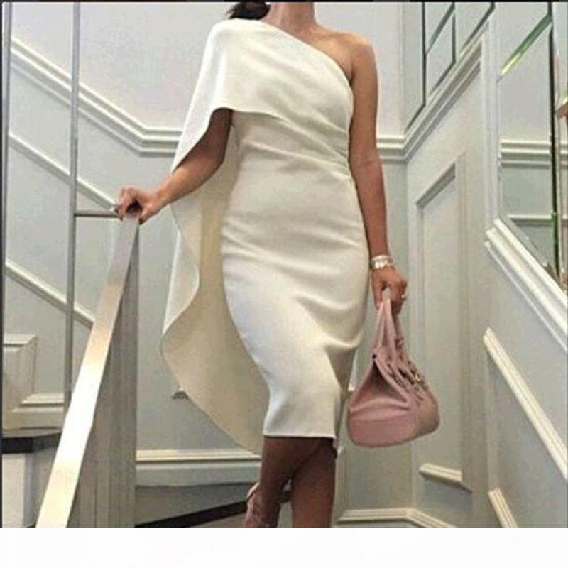 Vintage One Shoulder Ivory Evening Dresses Tea Length Simple Cheap Prom Dresses Arabic Dubai Formal Party Cocktail Gowns China USA Online