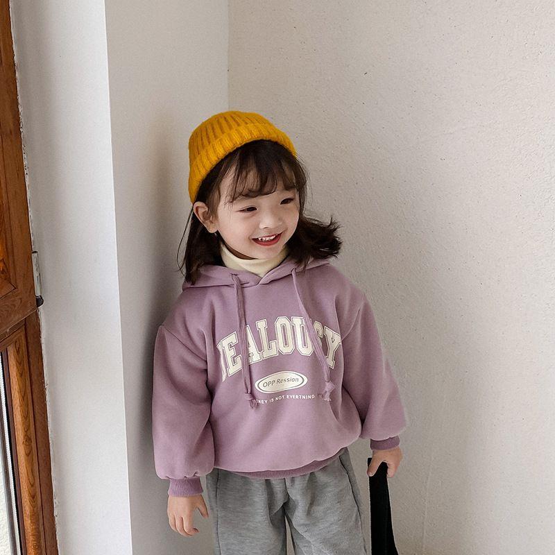 Winter Girls Boys Letter Thick Hoodies Korean style Baby Child Warm Long Sleeve Tops Toddler Kids Fashion Sweatshirts 210510