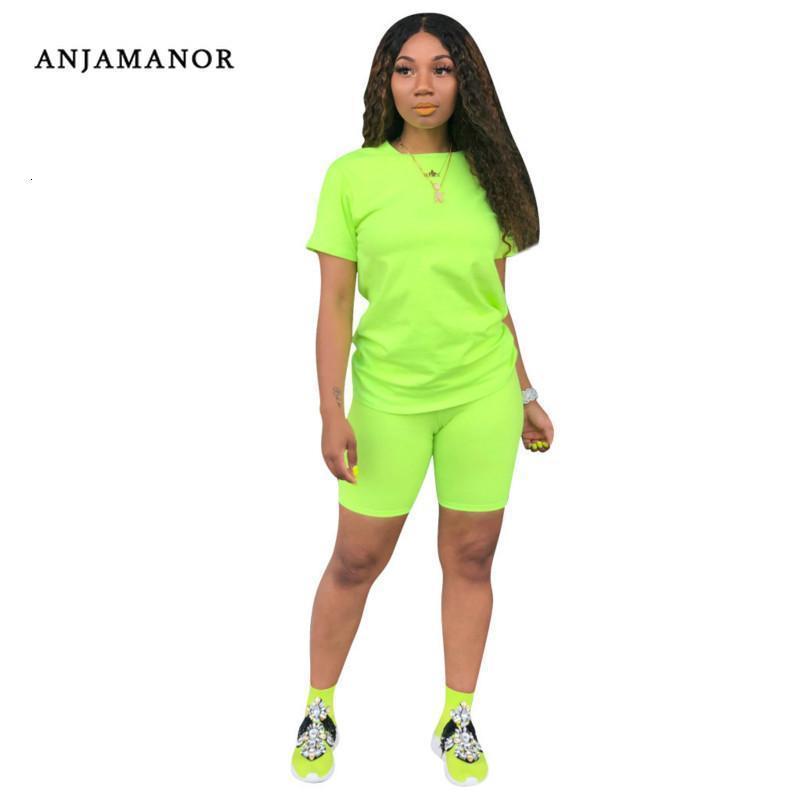 Случайные две части набор верхних и брюк неоновые зеленые желтые розовые короткие наборы для женщин милые летние наряды трексуита D41-AC55 женские трексуиты