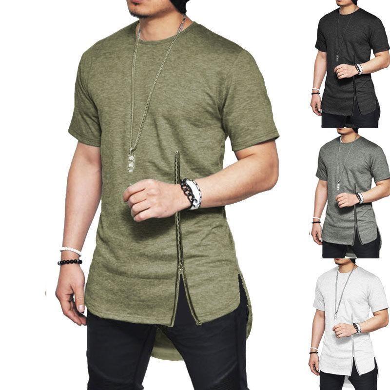 T-shirt da uomo Streetwear Fashion Slim Summer Asimmetrica uomo manica corta con cerniera Tshirt hip-hop curvo orlo in cotone