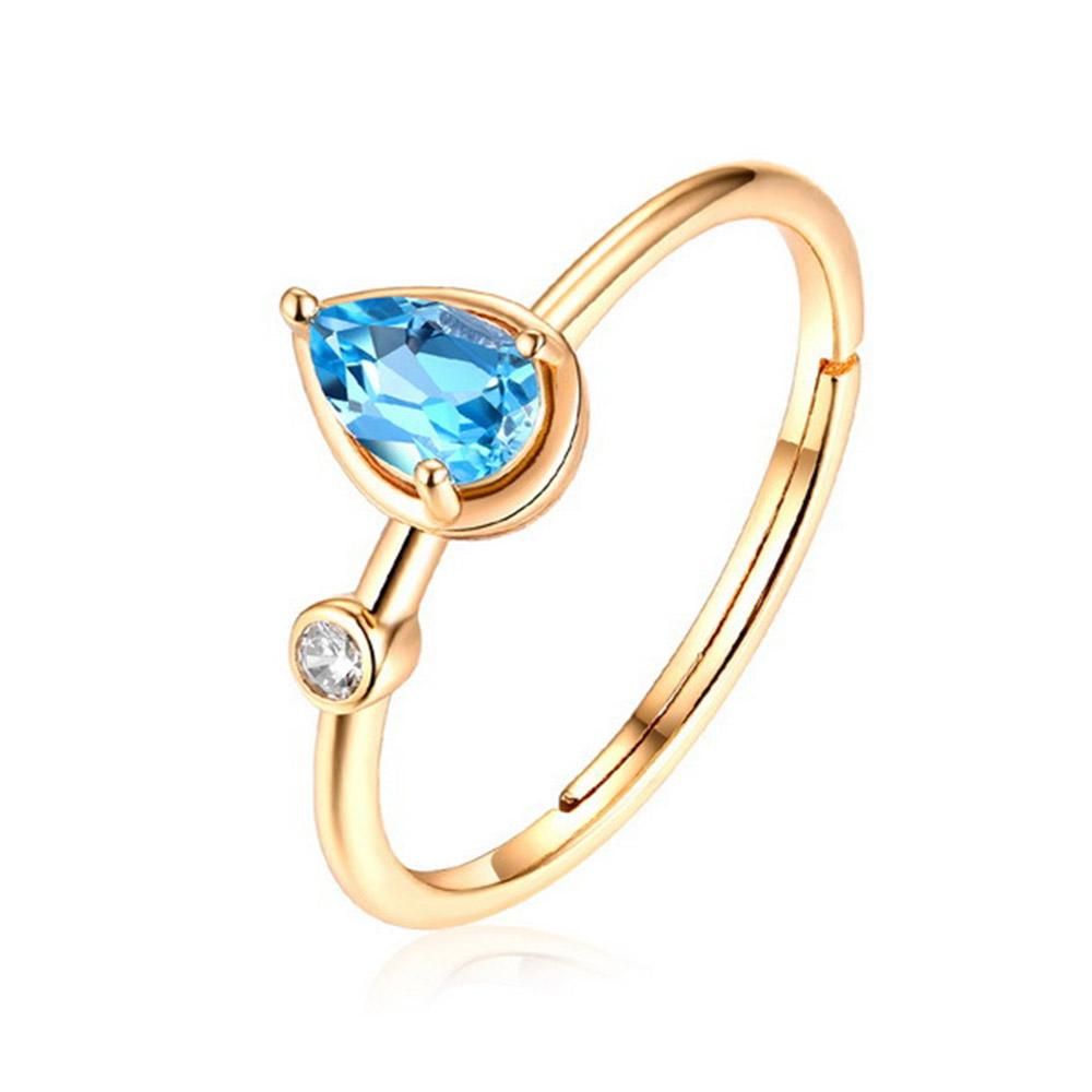 High Quality Dainty Silver Jewelry Natural Blue Topaz Ring S925 Sterling For Engagment Wedding Women Party Gift