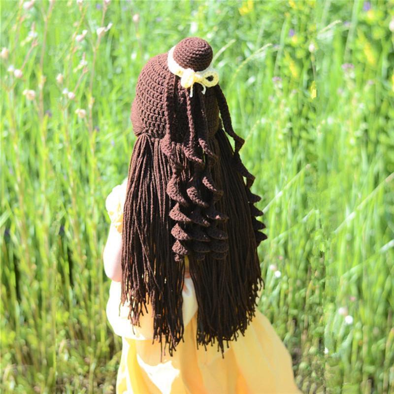 여자 가발 니트 모자 겨울 어린이 가짜 긴 머리 크로 셰 뜨개질 만화 귀여운 니트 따뜻한 모자 크리스마스 선물 # 40 캡