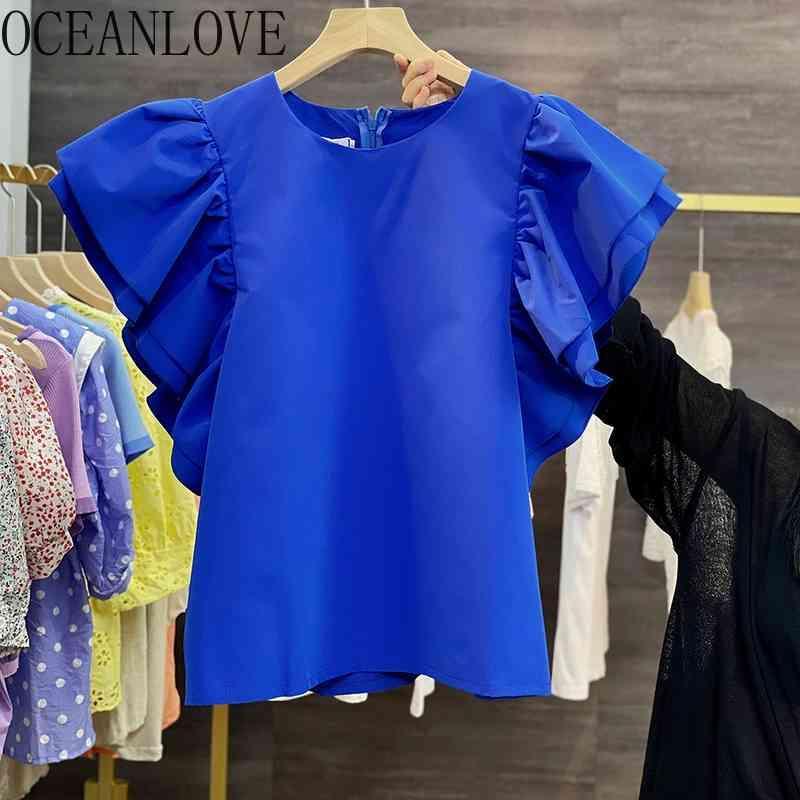 Azul sólido coreano camisetas de mujer vintage volantes o cuello casual moda mujer camisetas de manga corta top top tee 210415