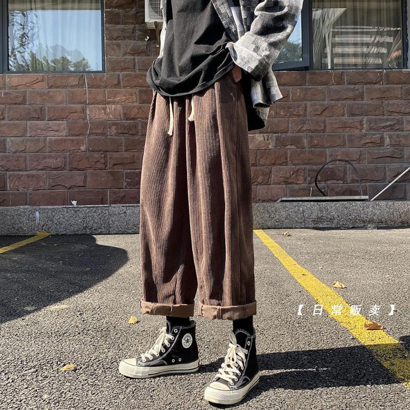 남자 느슨한 스트레이트 하렌 바지 코듀로이 패브릭 헐렁한 카고 캐주얼 솔리드 컬러 패션 탄성 허리 바지 M-2XL