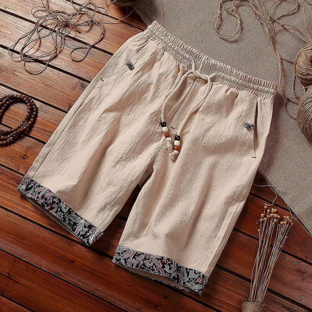Шорты 2021 Летняя одежда Большой хлопчатобумажный мужской молодежи свободных сплошных цветных брюк