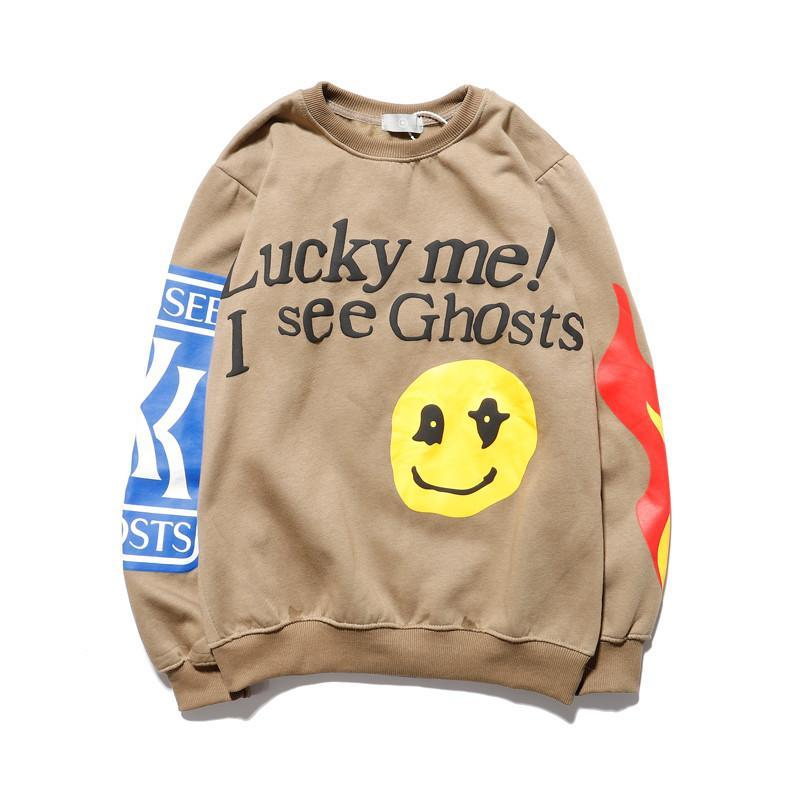 "mens hoodies Sweatshirt ""lucky me I see ghosts"" print hoodie autumn winter cotton tour series"